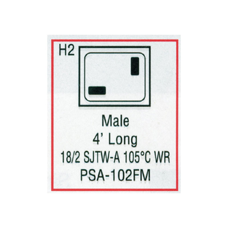 Cord - Male Large J/J 2-wire for Light  (#PSA102FM)