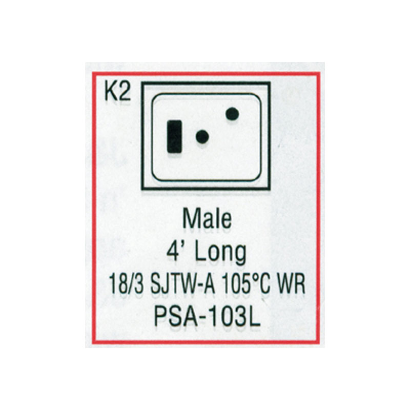 Cord - Male Large J/J 3-wire for Light - (#PSA103L)