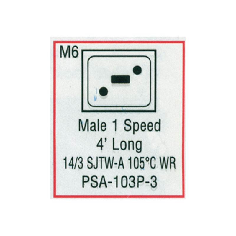 Cord - Male Large J/J 3-wire for Pump 2 (#PSA103P3)