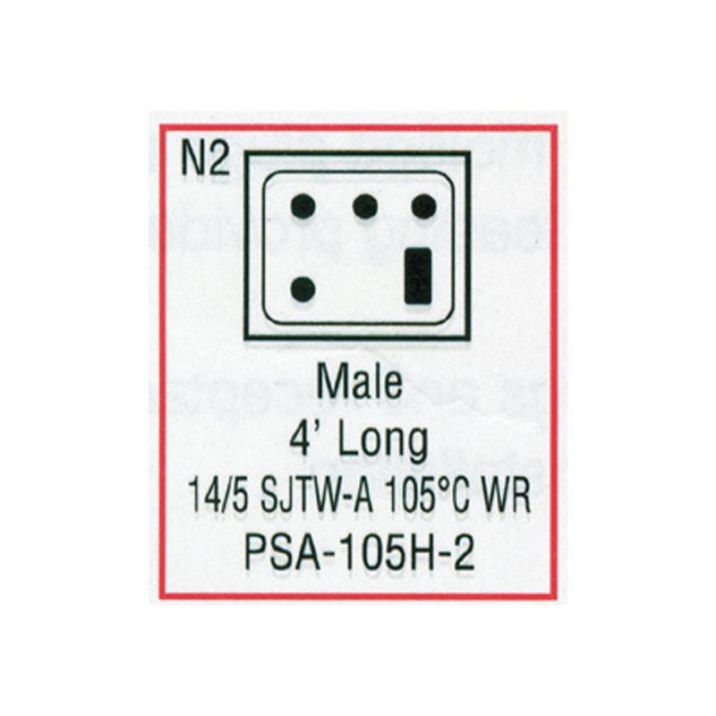 Cord - Male Large J/J 5-wire for Heater (#PSA105H2)