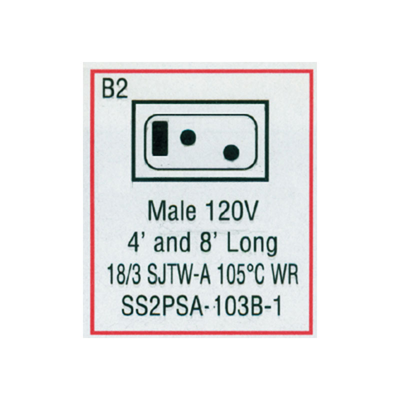 Cord - Male Mini J/J  for Blower (#SS2PSA103B1)